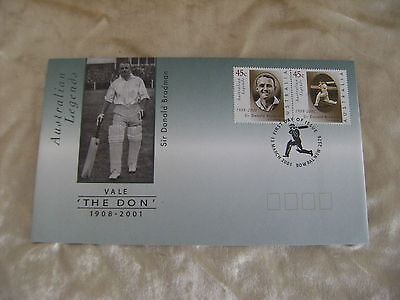 'The Don' Sir Donald Bradman, First Day Issue, 13 March 2001, Envelope 45c x 2
