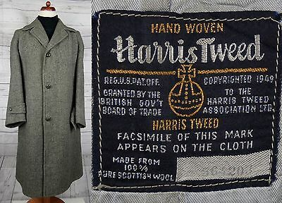Vintage 50s / 60s Grey Harris Tweed Overcoat -39S- DE89