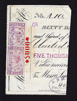 GB £1 & £1 10/- Foreign Bill QVR era stamps on piece with USA fiscals on reverse