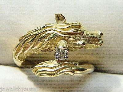 Diamond Horse Ring solid 18kt yellow gold 6.56gr Natural Diamond Quality Ring