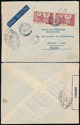 FRENCH SAHARA 1940 WW2 CENSOR...NEMA in BLUE + F1 CIRCLED...NY EXPO FRANKING