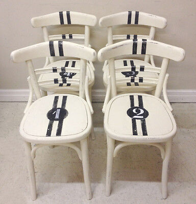 Set of 4 Vintage Painted Bistro / Dining Chairs