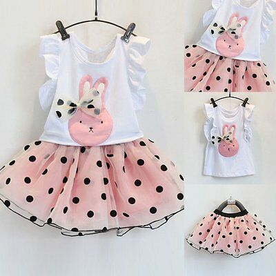 Toddler Kids Baby Girls Vest T-shirt Tops+ Tutu Dress Outfits Clothes 2PCS Set