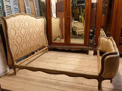 RARE VINTAGE FRENCH DOUBLE BED - FULLY CURVED BOTH ENDS - LARGER EXAMPLE - fd103