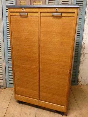 Vintage Oak French Tambour Filing Cabinet - ca23