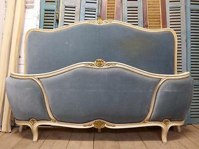 VINTAGE UPHOLSTERED KING SIZE FRENCH BED - 160cm wide - fd104