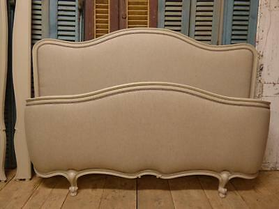 Rare Vintage French King Size Bed - New Oatmeal Linen Upholstery
