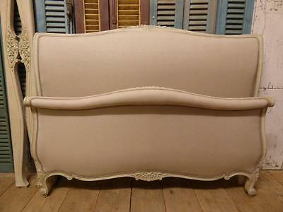 VINTAGE UPHOLSTERED DOUBLE FRENCH BED - SCROLL FRAME - NEW LINEN MATERIAL - cv40