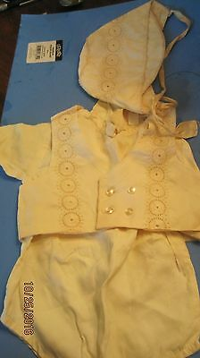 Vintage Baby Boys  Cap  White -  50's christening or doll 3 peice
