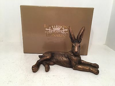 Bronzed Lying Hare Bronze Reflections by Leonardo Figurine *BRAND NEW BOXED*