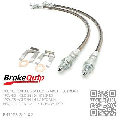 Braided Stainless Brake Hose Alloy Caliper Disc Front [Holden Hx-Hz] Silver
