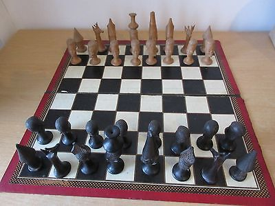 African Carved Wooden Chess Set - excellent complete condition