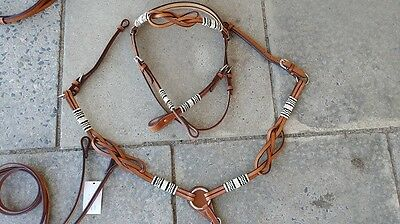 Western bridle breastplate rawhide leather horse full size rodeo barrel