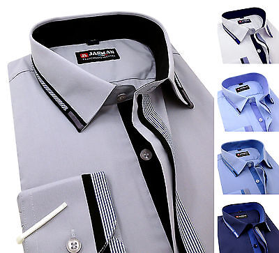 Men's Plain Cotton Shirts Classic collar Business Formal Casual Long sleeve