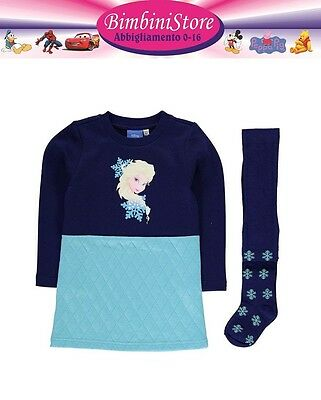 Completo frozen vestito + collant  originale disney celeste-blu