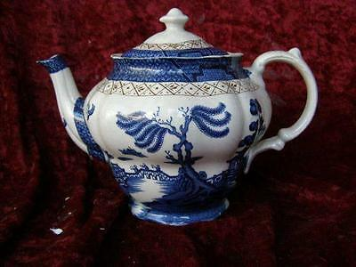 Large Booths Real Old Willow Pattern Teapot Tea Pot A8025 Blue & White