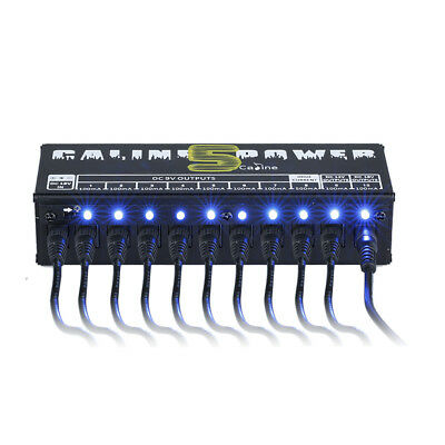 10 Isolated Output Power Supply Blue LED For 9/12/18V Guitar Effect Pedal Board