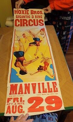 VINTAGE Circus poster Hoxie Bros. Manville NJ Gigantic 3 ring acrobats 14 x 40