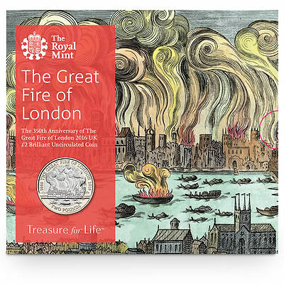 The Royal Mint Great Fire of London 2016 UK £2 BU Coin - UK16GFBU