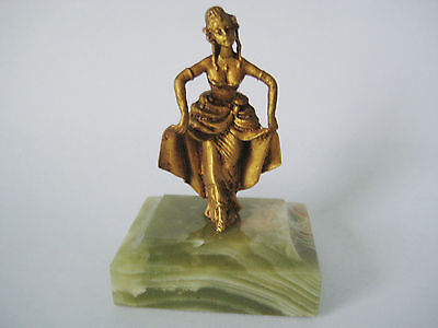 Risque Dancing Figurine on Onyx Base ~ Miniature French Gilt Figure Paperweight