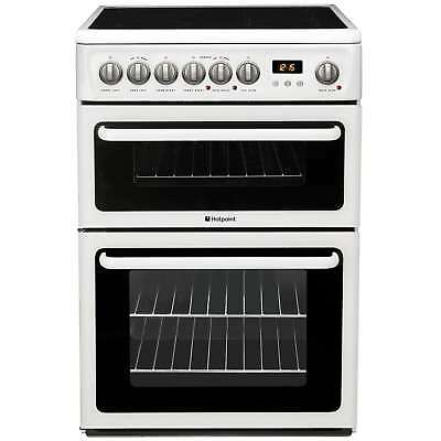 Hotpoint HAE60PS 60cm Electric Double Oven with Ceramic Hob Cooker in White