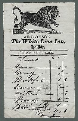 Georgian Billhead & Receipt - Jenkinson - The White Lion Inn Halifax - Tavern.