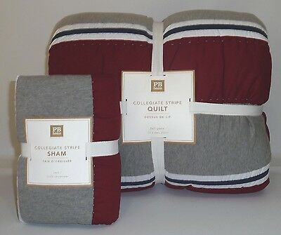 POTTERY BARN PB TEEN Collegiate Stripe FULL/QUEEN Quilt w/EURO Sham-RED/GRAY-NEW