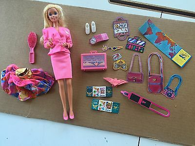 1989 Flight Time Barbie In Pink Suit - Plus Suitcase And Many Accessories