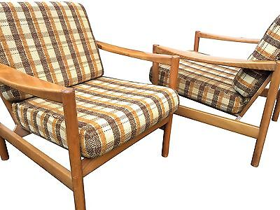 60's 70's Pair of  Modernist Beech Lounge Armchairs. Mid-century, Retro, Vintage