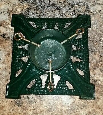 Modern Heavy Christmas Tree Stand Cast Metal Green 13 5/8 Square