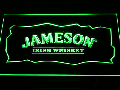 Jameson Whiskey Pub Bar Sign LED NEON Green