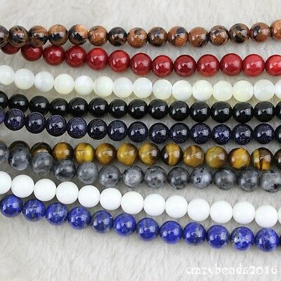 """4-12mm Round Wholesale Lot Natural Stone Gemstone Space Loose Beads Strand 15"""" A"""
