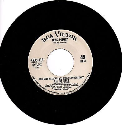 Elvis Presley - I'll Be Back 1966 One Sided US Vinyl 45 Special Academy Copy.