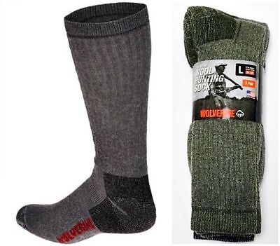 New, Wolverine Premium Wool Hunting Socks, Shoe Size 9-13, 6 pair only $30.99!