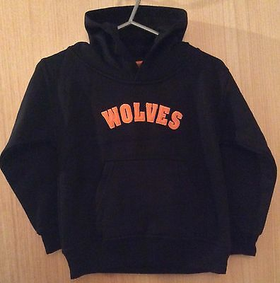 Wolves Hooded Black Sweatshirts Sizes 5/6 7/8 Years.Polycotton. Excellent Fleece