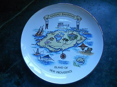 Vintage Porcelain Souvenir Plate From Nassau Bahamas, Island Of New Providence