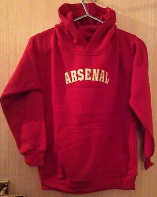 Arsenal Hooded Red Sweatshirts  Sizes 9-11 & 12-13 Years. Polycotton.  Excellent