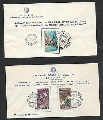 Somalia 1956-9 Flowers Year First Day Cover x 3