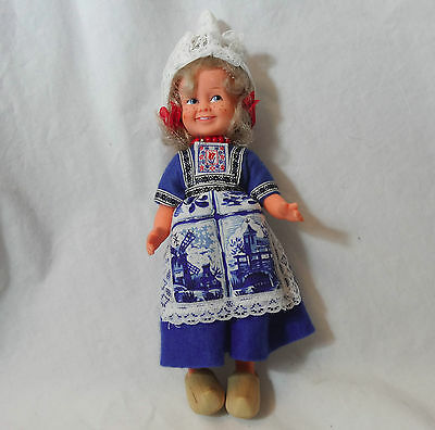 "Plastic rubber doll 9"" Dutch freckles Costume Clogs Windmills"