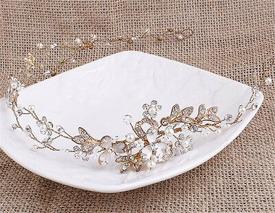 Diamante Bridal Headdress Pearls Wedding Headpiece Crystal Hair Headband 1 Piece