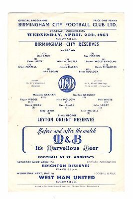 Birmingham City Reserves v Leyton Orient Reserves 1962 - 1963
