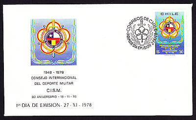1978 Chile First Day Cover FDC FDI Council Emblem Military Sports Chilean Sport