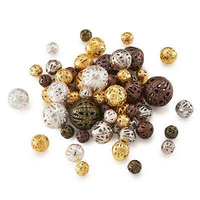 100pcs Mixed Color Iron Filigree Metal Beads Hollow Loose Spacers Beading 8~20mm