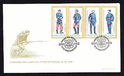 1980 Chile First Day Cover FDC FDI Chilean Army Uniforms of 1879 Military War