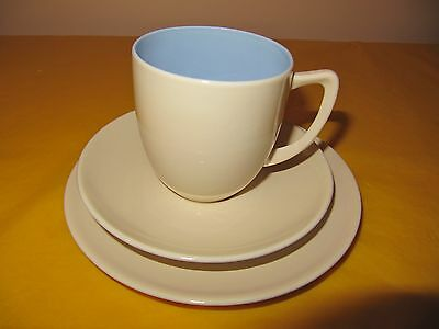 BRANKSOME Cream&Blue TRIOS (SIDE PLATES&CUPS&SAUCERS), small marks from use