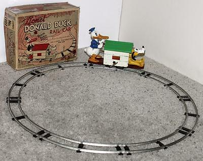 """Disney1936""""lionel""""donald Duck&pluto Handcar""""wind-Up Toy+8 Section Track+Key+Box!"""