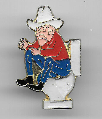 Vintage Cowboy Sitting and Pondering in Thought on a Toilet old enamel pin