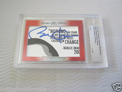 Barack Obama & Hillary Clinton 2016 Leaf Masterpiece Cut Signature auto 1/1 JSA