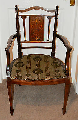 Antique Edwardian Mahogany Ornate Carver Quality Chair Inlaid with Various Woods