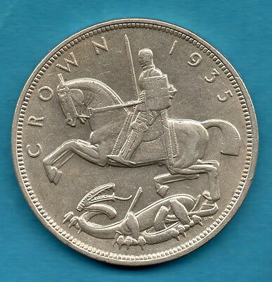 1935 George V Silver Crown Coin. George & Dragon Reverse, Art Deco Influence